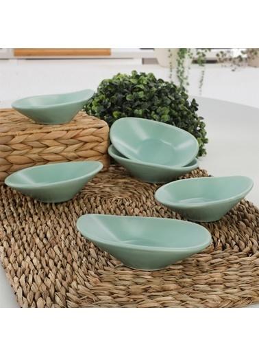 Keramika Keramika 12 cm 6 Adet Mat Açık Dalga Çerezlik/Sosluk Renkli